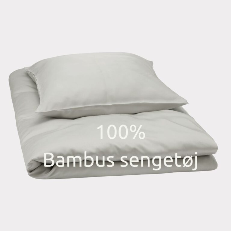 bambuni bambus sengtøj-lysegrå