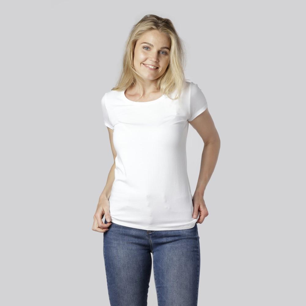 Bambus t-shirts i hvid til kvinder fra Bambuni