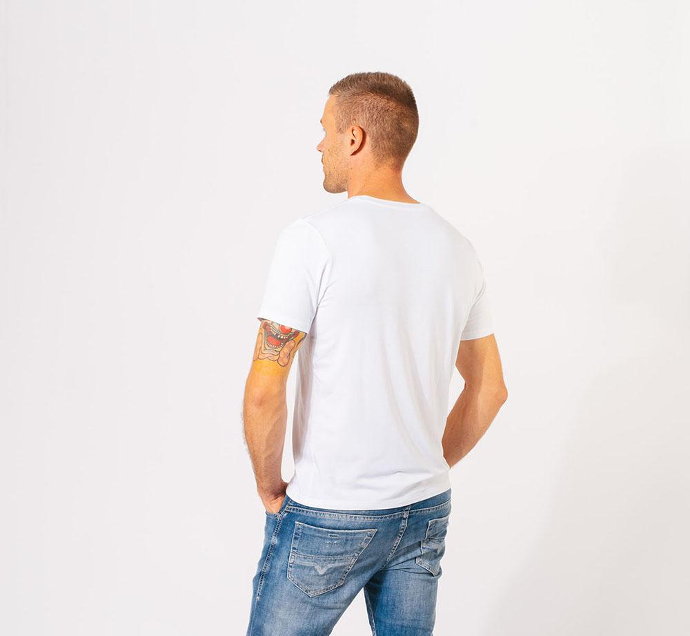 Bambus T shirt O hals i hvid til mænd