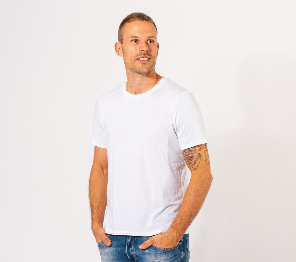 Image of   Bambus T-shirt i hvid med o-hals