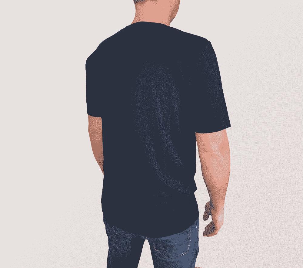 Bambus T shirt O hals i navy blå til mænd