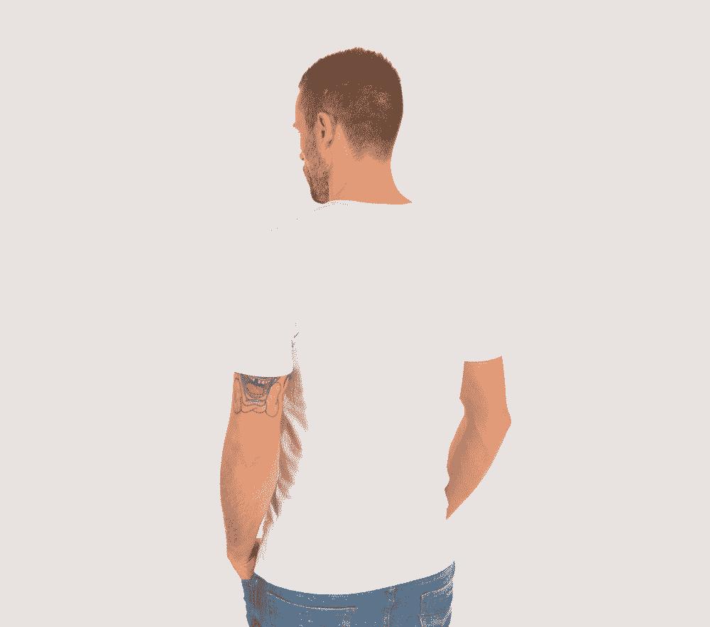 Bambus T shirt V hals i hvid til mænd