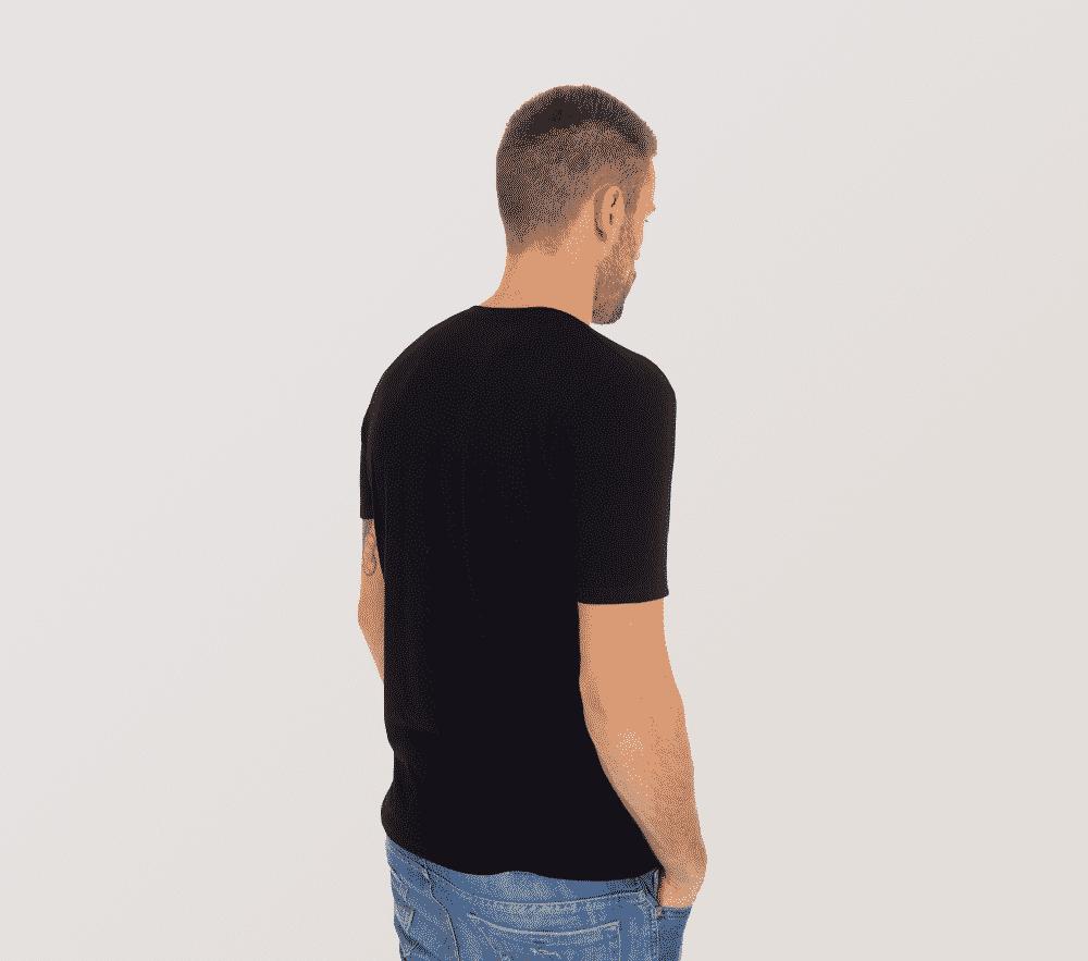 Bambus T shirt V hals i sort til mænd